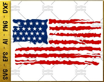 American Flag distress svg american flag usa flag distressed svg cutting cuttable file silhouette cricut instant download svg eps png dxf