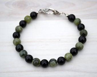 Obsidian bracelet, Beaded obsidian bracelet, Genuine obsidian bracelet, Obsidian gift, Obsidian jewelry, Obsidian, Buy one get one free.