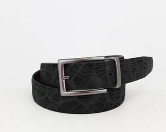 Reversible Jean Belt with Matte Gun Metal Swivel Buckle and Keeper in Genuine Printed Suede/Smooth Nappa Leather - Black/Brown