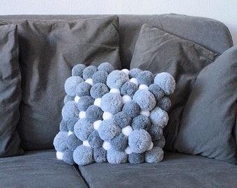 Pom Pom Cushion, Gift for Her, Gray Pom Pom Pillow, Grey Pillow Cover, Throw Pillow, Pom Pom Decor, Pompom Decoration, Fluffy Cushion,