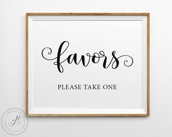 Favors sign, Favours sign, Wedding favors sign, Bridal shower favors sign, Baby shower favors sign, Birthday party favors sign