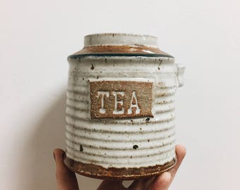 Handmade Vintage Pottery Tea Holder / Tea Container / vintage kitchen decor / boho pottery