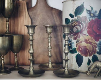 Set of Brass Candlestick Holders / Brass Candlesticks / Chunky Brass Candlestick / Instant Collection / Vintage Brass Candlestick Holders