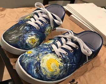 Starry Night Van Gogh handpainted shoes