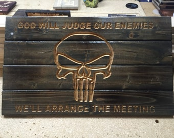 Carved rustic punisher skull wood sign. American hand made.  wall art decor man cave signs