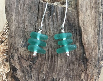 Scottish Sea glass and sterling silver teal stack earrings