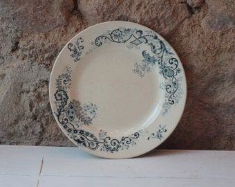 Antique French Green and Blue Porcelain Plate, Transferware