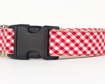 Designer Dog Collar, Red Gingham Puppy Collar, Patterned Fabric Dog Collar, Custom Dog Collar, 1 Inch Dog Collar, Dog Accessories
