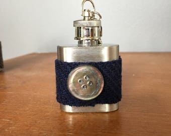 Harris Tweed Mini Hip Flask Keychain