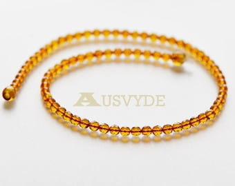 5 mm Round amber beads necklace. Faceted amber balls. Natural amber necklace for adults. ~43 cm long. 6102