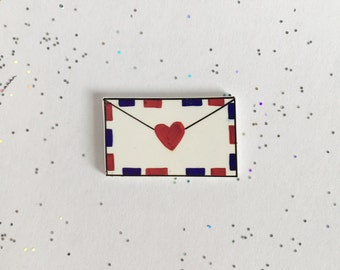 Love Letter Pin [brooch lapel pin mail postcard snail mail]