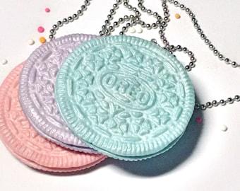 Pastel Oreo necklace/ Pink pastel oreo necklace/