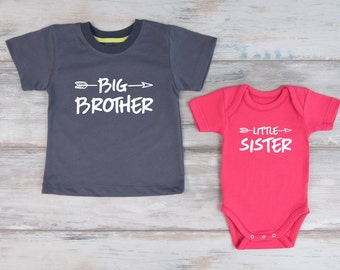 Big Brother Little Sister Outfits, Big Brother Shirt & Little Sister Baby Bodysuit Set, Sibling Shirts, Matching Brother Sister Gifts