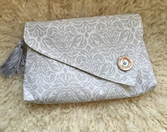 Clutch Bag / Evening Bag - fancy grey patterned