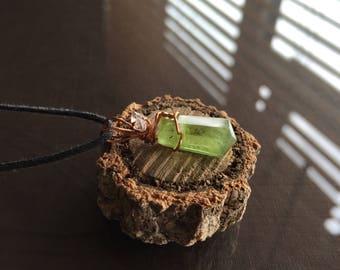 Tiny Peridot and Herkimer Diamond Necklace, Tiny Peridot Necklace