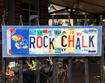 ROCK CHALK - University of Kansas- KU Jayhawks, custom license plate sign/ alumni/ tailgate/ graduation gift