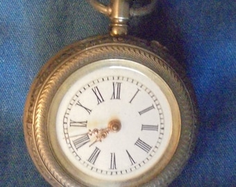Antique Silver Pocket Watch Engraved 1894