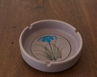 Vintage Stoneware Flower Ashtray