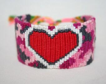Pink Camo Heart Friendship Bracelet, Bookmark or Key Fob
