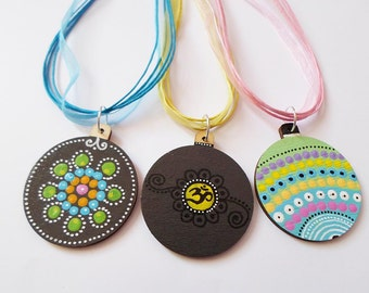 Om Mandala Yoga Boho Pendant Necklace Jewelry, Art handpainted jewelry, Minimalistic art jewelry, Wooden Black necklace, Dotillism Jewelry