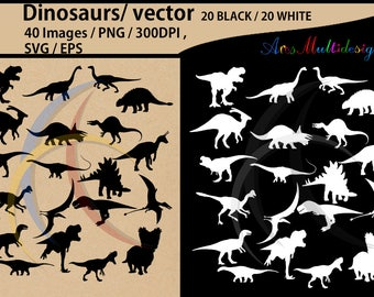 Dinosaurs silhouette svg / dinosaur Clipart, Iron on Transfer, Scrapbooking & Crafts / SVG template / EPS / PNG /animal silhouette / vector
