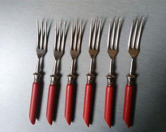 Vintage Trident Forks / Collectible Trident Forks / Cocktail Forks / Vintage Fork Set / Party Fork Set / Set of 6 Forks /  Vintage Kitchen .