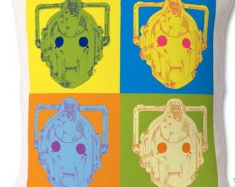 Cyber man Warhol, mash up, Doctor Who, Whovian, Dr Who, Cushion, Wall Decor, Cybermen, Artwork, Painting, Illustration, Home Decor, scifi