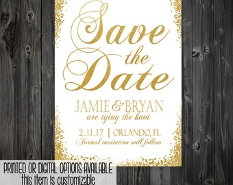White and Gold Save the Date Invitation