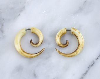 Small Bone Stained Spirals Fake Gauges Earrings