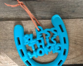 Bless This Home Horseshoe - Our First Home Gift - Housewarming Ornament - Housewarming Gift - New Homeowner Gift - First Home Ornament