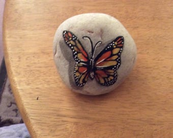 Hand painted butterfly on cornish stone paperweight/ornament