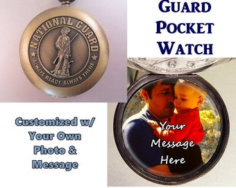 National Guard Pocket Watch Personalized w/Photo & Message National Guard Gift Vintage Style