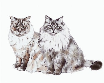 Custom DIGITAL Double Pet Portrait. Pet portrait. Custom Cat Portrait-custom made-dog portrait-cat portrait-print-