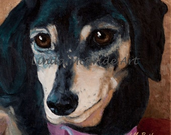 Dachshund 3x3 gift enclosure card from my original oil painting with envelope.