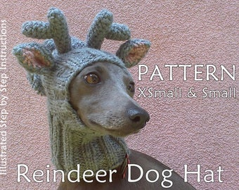 Reindeer Dog Hat PATTERN / Christmas Dog Hat Pattern / Greyhound Hat Pattern/ How To Knit Dog Hat / DIY Dog Hat