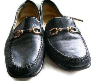 Italian Leather Shoes  Vintage Shoe Navy Loafers Vintage Flats Italian Real Leather Shoes Elegant Shoes
