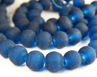 15 Inch Strand - 8mm Round Transparent Marine Blue Frosted Glass Beads - Sea Glass Beads - Glass Beads - Dark Blue Beads - Jewelry Supplies