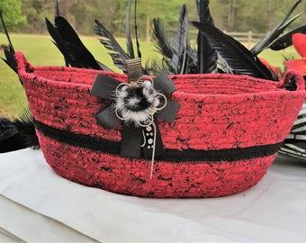 Coiled Rope Basket, Clothesline, Black White Red Basket, Fabric Basket, Handmade, Homemade