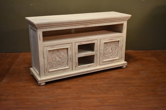Rustic Solid Wood Carved 55 Inch White Tv Stand Media