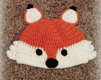 fox hat, crochet fox hat, fox beanie, baby gift, neborn photo prop, baby fox hat, newborn hat kids hat, child's hat, dress up, birthday gift