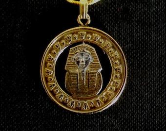 King Tutankhamun's Mask Pharaoh Pyramids of Giza Tomb Handmade Cut Coin Pendant Necklace Gold and Silver Layered Egyptian One Pound Egypt