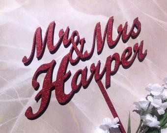 Custom Mr & Mrs Wedding Cake Topper