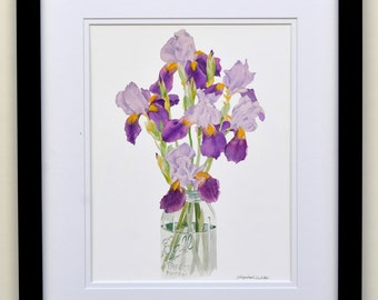 Purple irises in a Ball jar, watercolor, painting, flowers, Ball jar, giclee print, free shipping, spring, gift