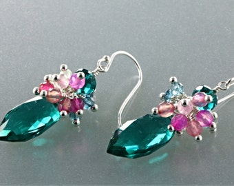 AAA Peacock Teal Blue Marquise Quartz, Blue Topaz, Green Amethyst and pink Tourmaline Earrings