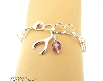 Wishbone Bracelet, Good Luck Jewellery, Birthstone Bracelet, Wishbone Gifts, Heart Bracelet,  Personalised Bracelet,