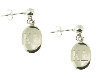925 Sterling Silver Oval Monogrammed Greek Sorority Letters Ball Stud Drop Earrings