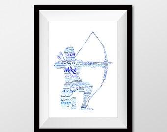 Archery artwork, Archery, Archery 50th, 60th or 70th birthday