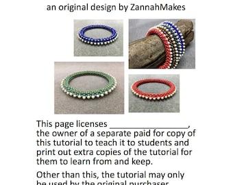 Teaching License for the Bobble Bangle Beading Tutorial Pattern Instructions Beaded Bangle