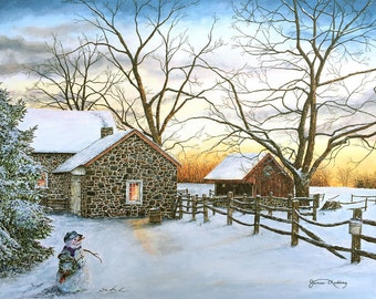 Winter Painting - Snowman Painting - Christmas Painting - Snow Scene - Country Art - Barn Painting - Matted Print