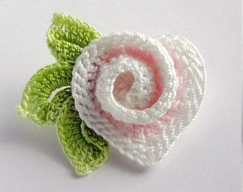 Crochet Pin Irish Crochet Heart Pin Crochet Jewelry Spiral Heart Lapel Pin Scarf Pin Hat Pin Crochet Rose Handmade Brooch Crochet Flower